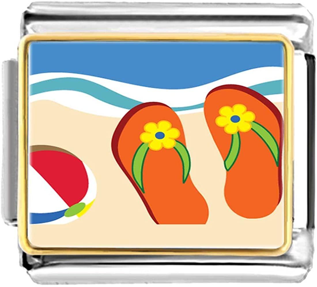 GiftJewelryShop Gold Plated Beautiful Beach Orange Slippers Bracelet Link Photo Italian Charm