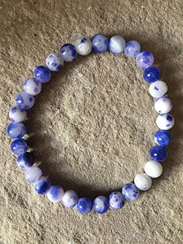 AAA++ Rare Quality Genuine handmade Blue agate semi precious gemstone 6mm bracelet Code- WAR1843