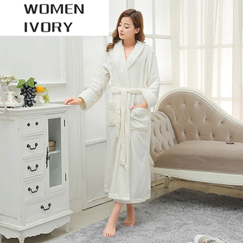 llwannr Bathrobe Robe Nightgown Sleep,Women Extra Long Soft as Silk Flannel Bath Robe Winter Warm Bathrobe Bride Kimono Dressing Gown Bridesmaid Robes Wedding,Women Ivory,L