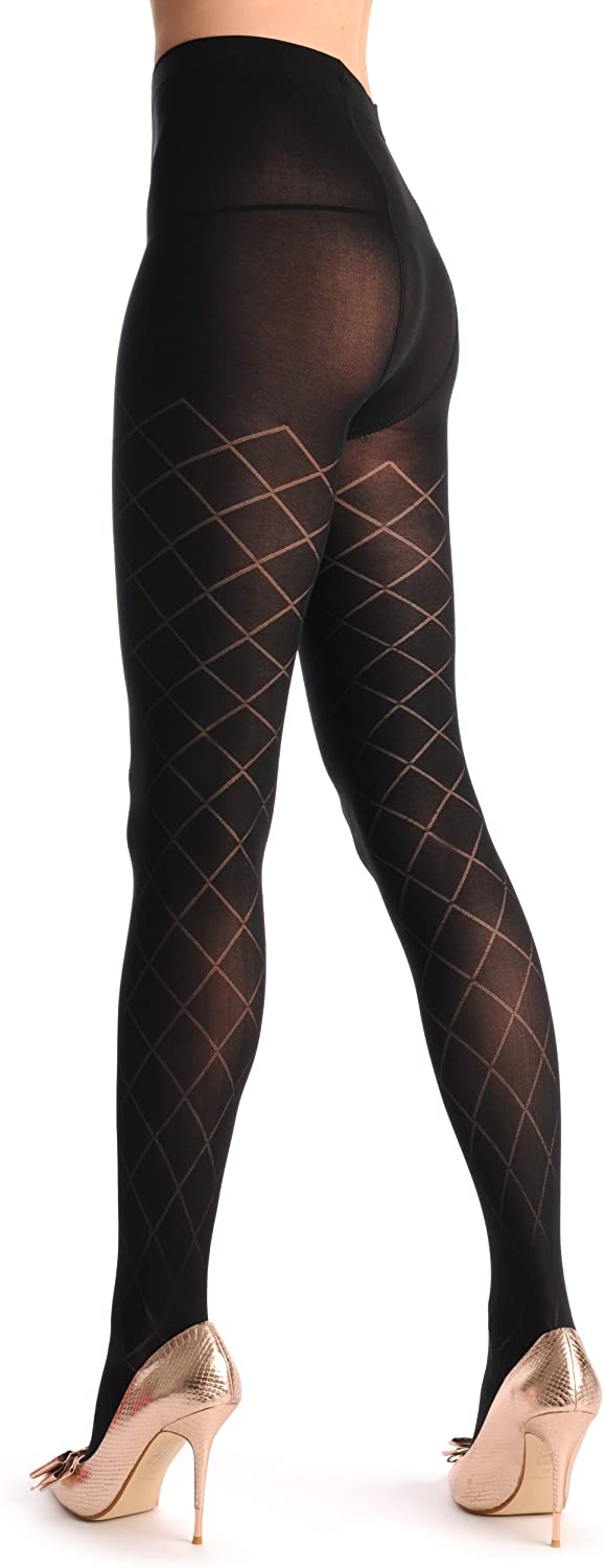 Black Rectangles With Semi Transparent Mesh 380 Den - Tights