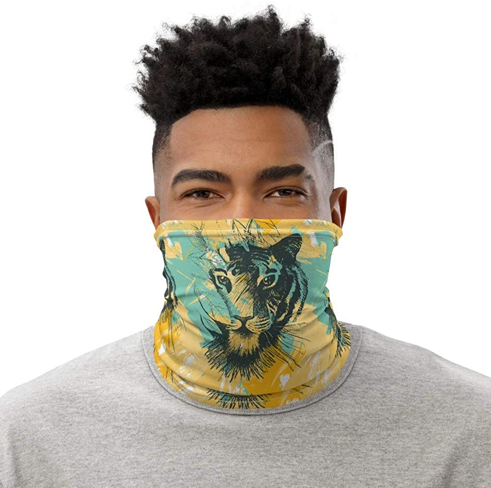 African Tribal tiger Head Pattern Neck Gaitor, Tube Bandana, Dust Mask, Reusable Fabric Face Mask Coverings Scarf, Neck Warmer