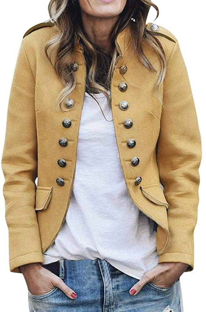 terbklf Women's Slim Fit Rider Jackets Retro Lapel Button up Bike Jacket Bomber Jacket Casual Coat Outwear for Women