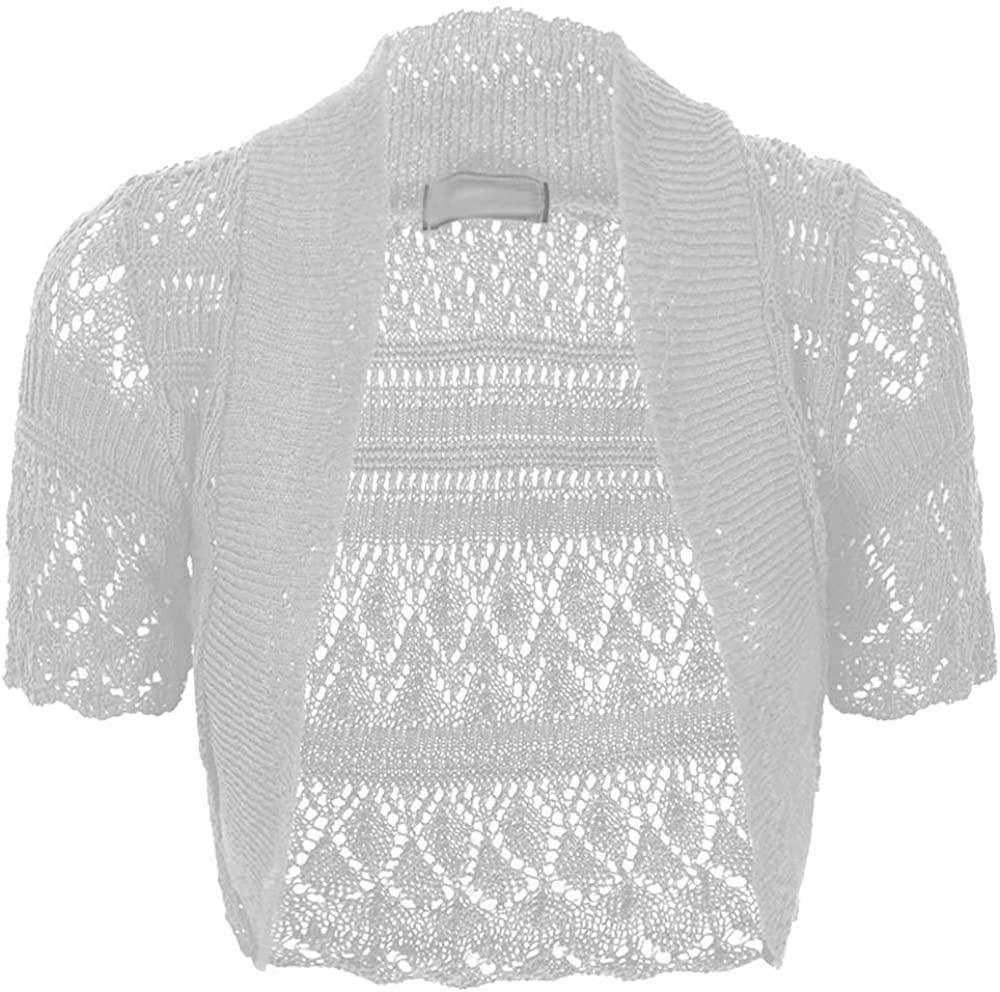 Thever Women Short Sleeve Knitted Crochet Shrug Bolero Cardigan Ladies Crop Top (2XL(20-22), White)