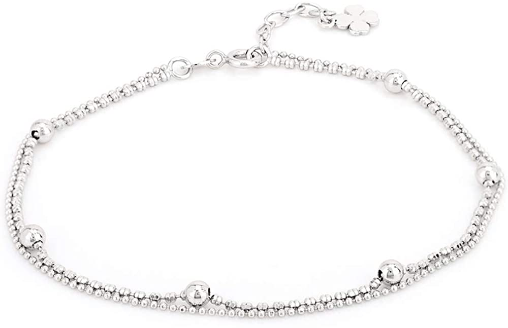 Vanbelle Sterling Silver Jewelry Double Layered Beaded Chain Anklet with Rhodium Plating for Women and Girls