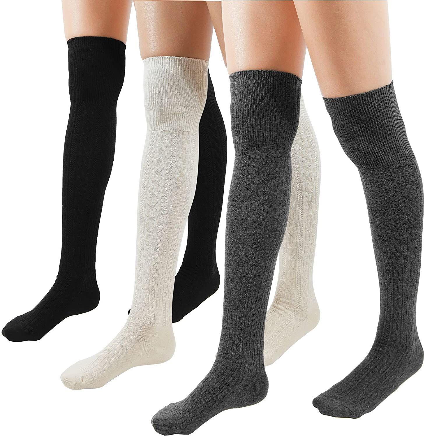 Women Cable Over The Knee Socks Cotton (Muti Pack-3pairs(Black,Gray,Beige))