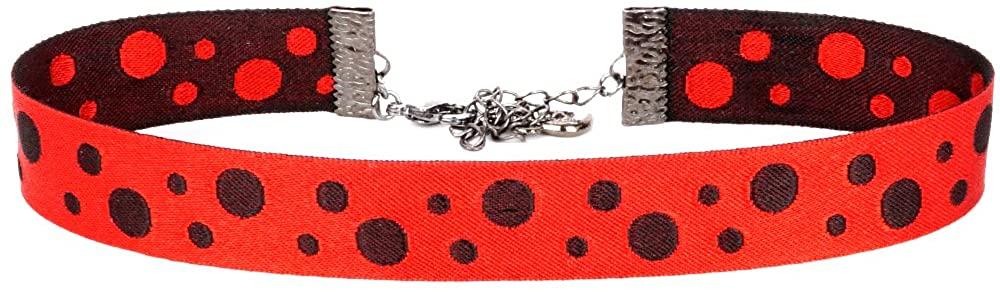 Twilight's Fancy Reversible Polka Dots Jacquard Ribbon Choker Necklace (S, M, L, XL, XXL)