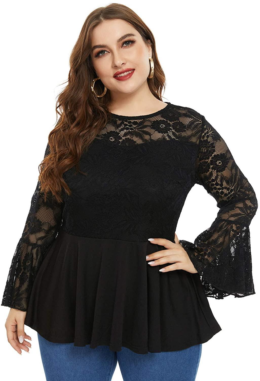 Women's Plus Size Elegant Lace Flare Sleeve Ruffle Hem Slim Fit Blouse