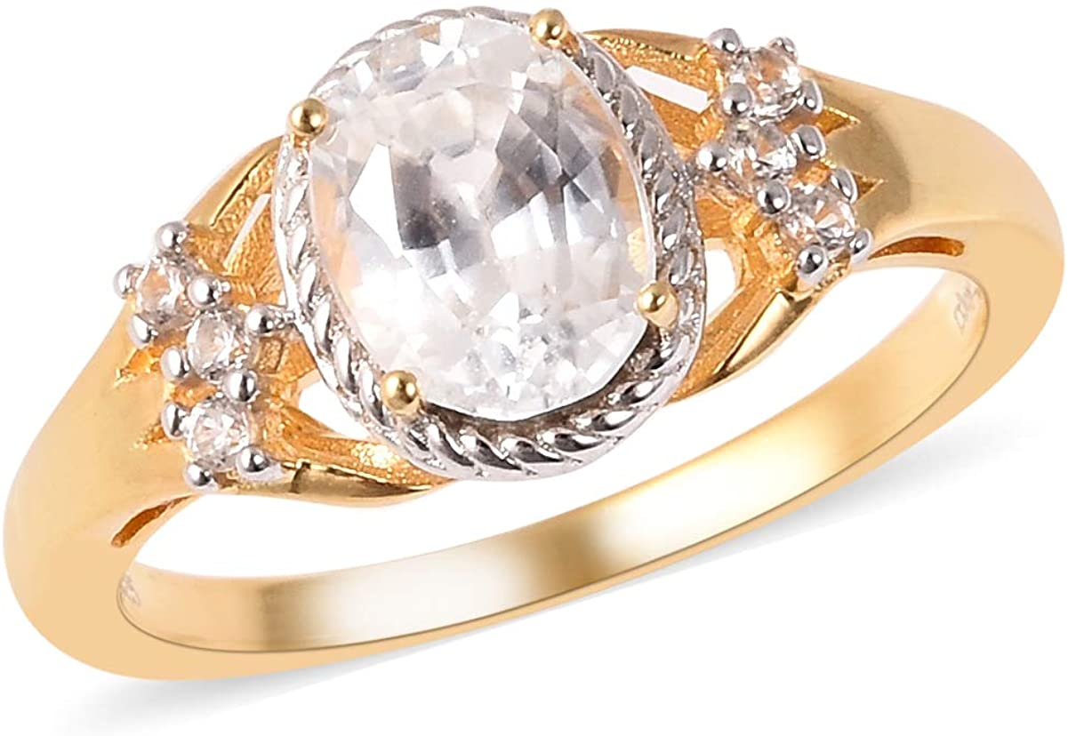 925 Sterling Silver 14K Yellow Gold Plated Oval White Zircon Promise Ring Anniversary Jewelry for Women Size 7 Ct 1.5