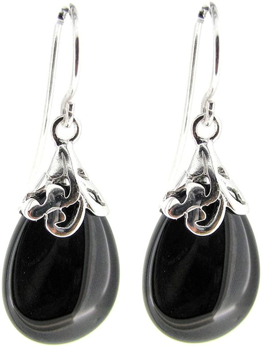 Teardrop Sterling Silver Filigree Flower Bail and French Hook Earwires Dangle Earrings