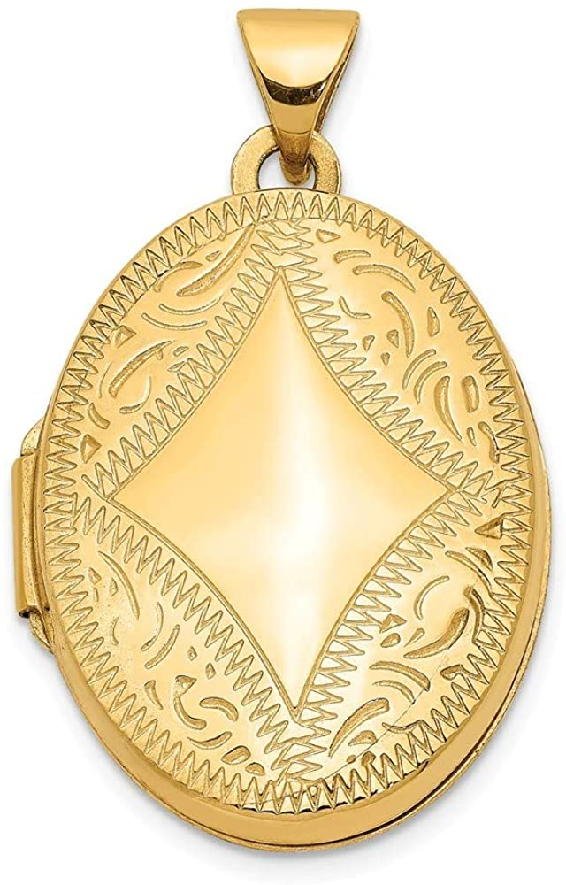 14k Yellow Gold Polished Holds 2 photos Oval Locket Jewelry Gifts for Women