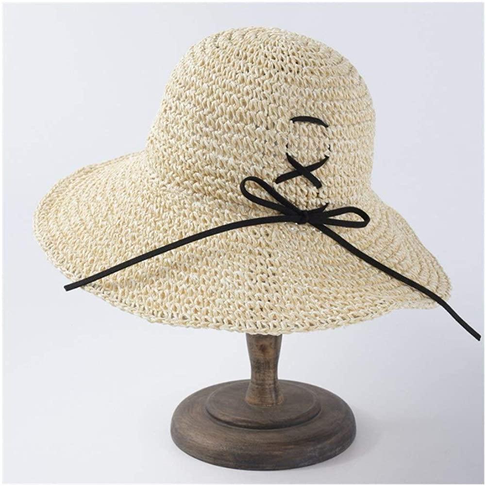 MADONG Summer hat Female Simple Wild Folding Straw hat Sun Visor Student Travel hat
