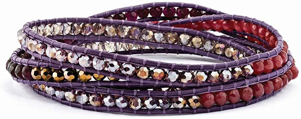 Multi Crystal and Multi Quartz Leather Multi colored Multi wrap Bracelet Jewelry Gifts for Women