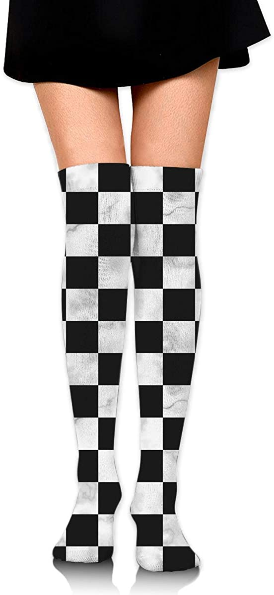 Dress Sock Marble Chess Board Chessboard High Knee Hose Soccer Hold-Up Stockings