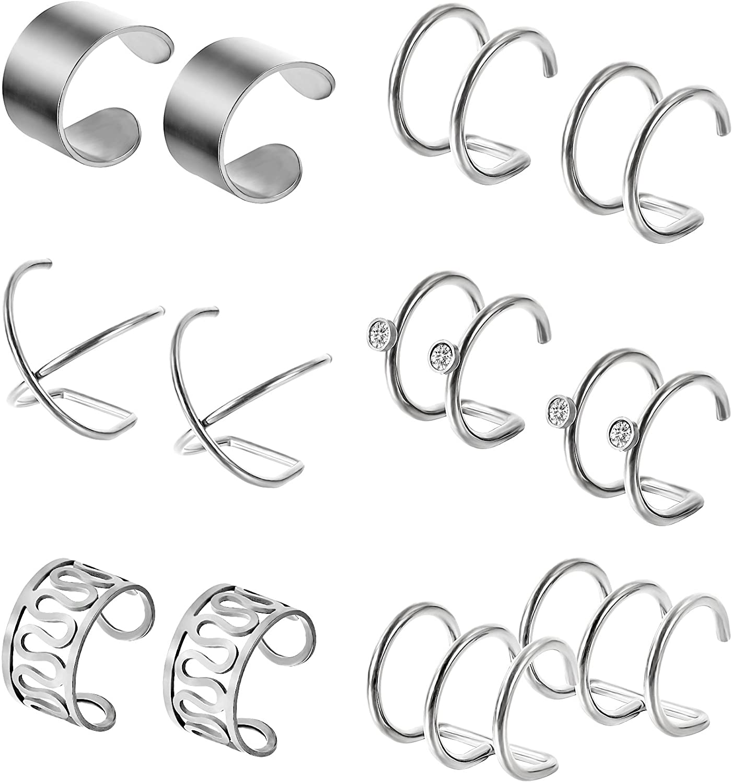 Hestya 6 Pairs Stainless Steel Ear Clips Non Piercing Earrings Hoop Ear Cuffs Cartilage Ear Clips Set for Men Women, 6 Various Styles