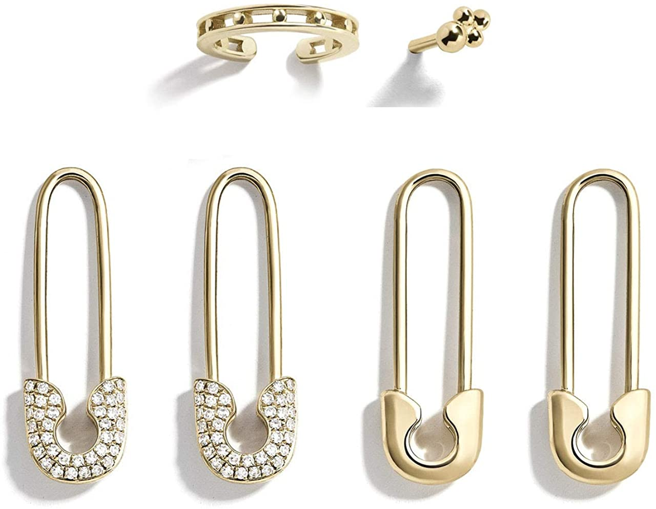 Fashion Gold Tone Safety Pins Hoop Earrings for Women Cartilage Paperclip Cuff Earrings Set Ear Clip Stud Jewelry