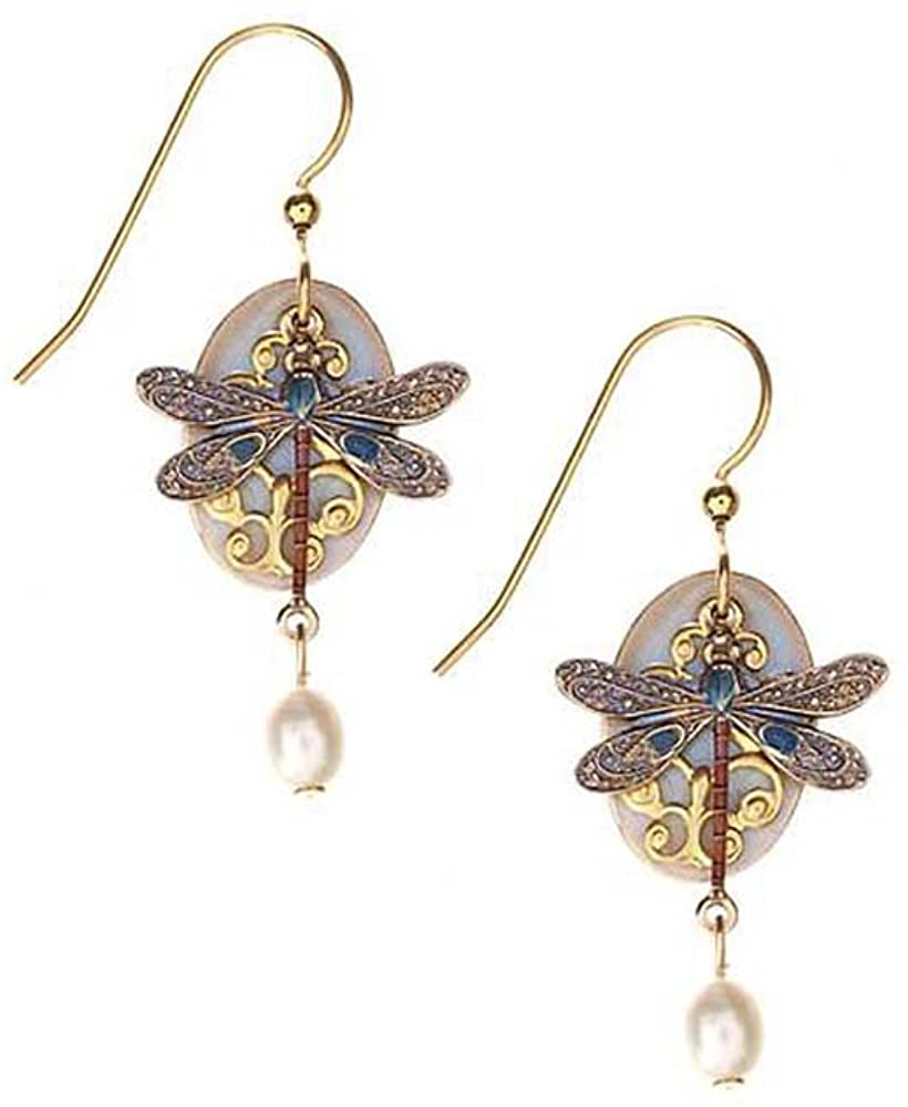 Silver Forest Blue Dragonfly on Oval Disk Dangle Earrings