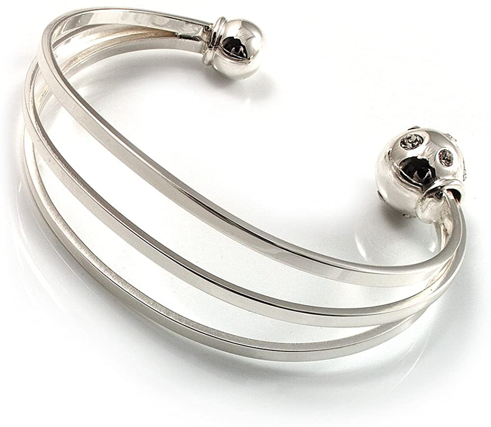 Avalaya Silver Tone Crystal Cuff Bangle