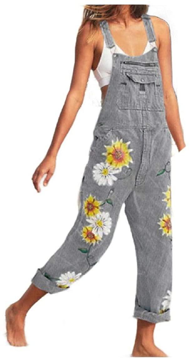 Fiere Womens Long Pants Suspenders Denim Painting Casual Weekend Bib Pants
