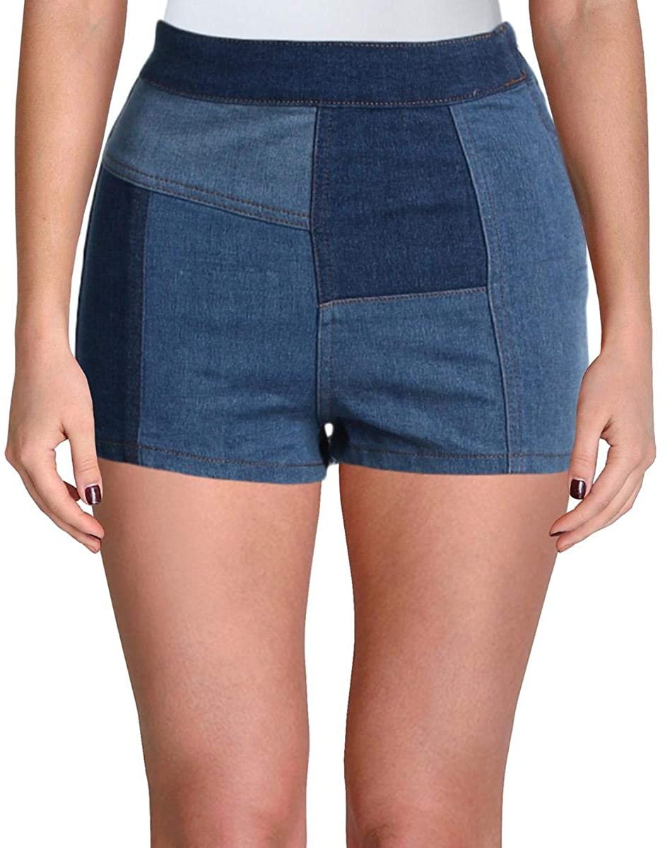 Free People Womens Patched High & Tight High Waisted Patchwork Denim Shorts