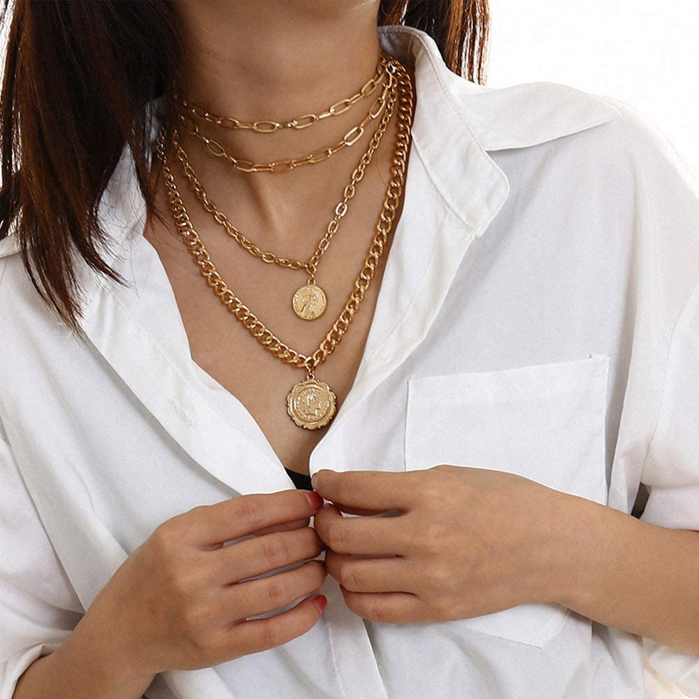 Women Gold Multilayer Layered Choker Necklace Statement Collar Necklace Cuban Pendant Chunky Chain Necklace Body Jewelry Accessories for Women and Girls (Gold)