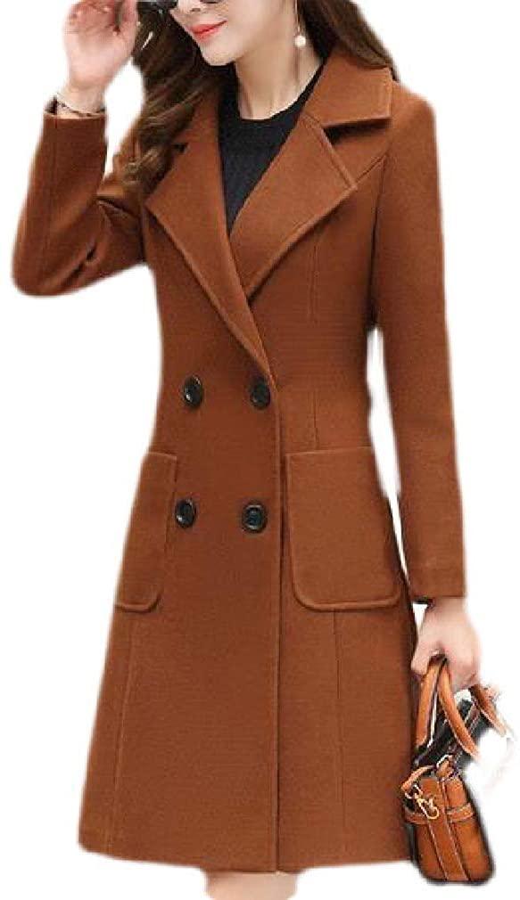CRYYU Womens Woollen Blend Double Breasted Mid Length Overcoat Autumn Winter Pea Coat Jacket