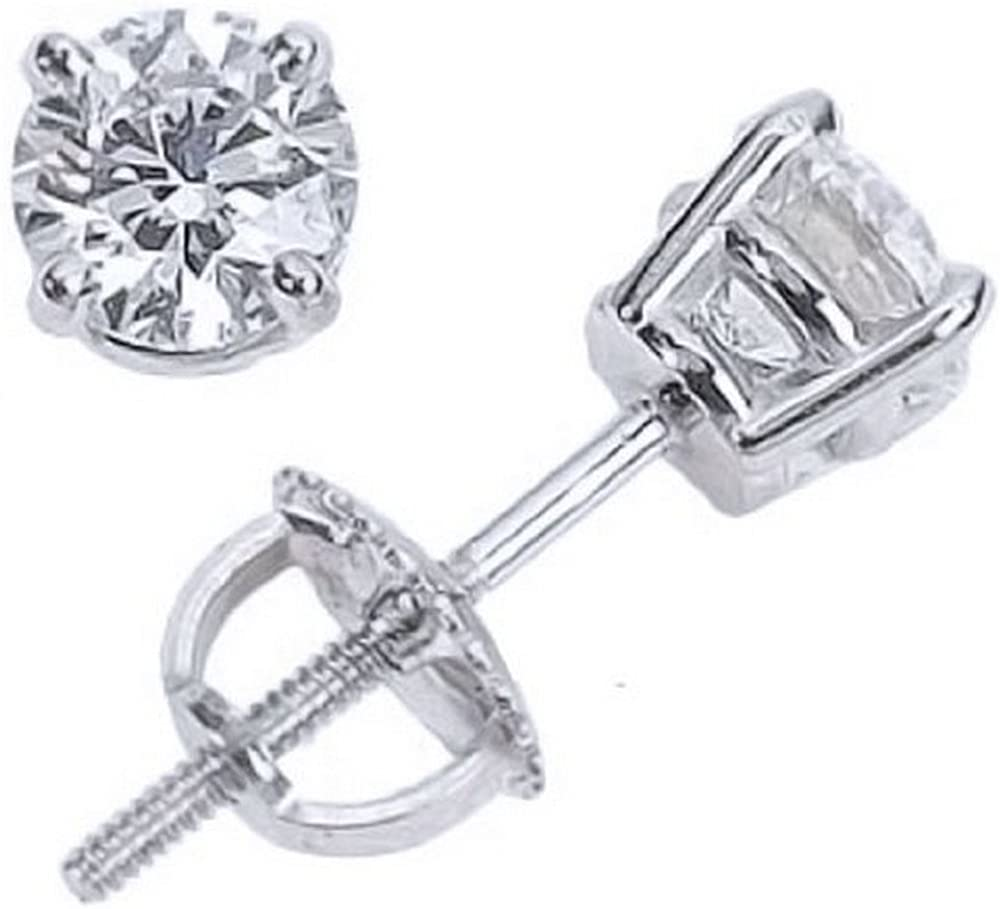 1.25 Carat Solitaire Diamond Stud Earrings 18K White Gold Round Brilliant Shape 4 Prong Screw Back (I-J Color, SI1-SI2 Clarity)