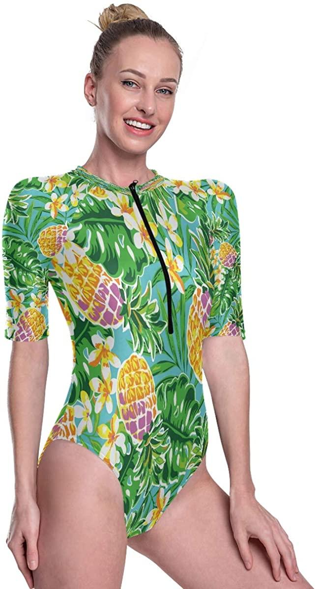 Womens One Piece Short Sleeve Rashguard Swimsuit Pineapple Turquoise Leaves Surf Swimwear