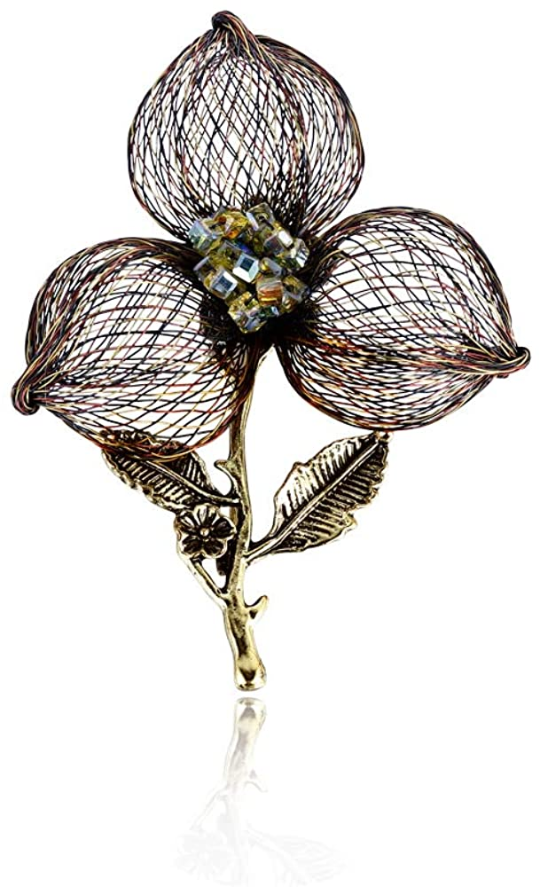 Italina Handmade Flower Brooch Pins Crystals Fashionable Stylish Modern Metropolis Touch for Women Birthday Anniversary Wedding Party Gift