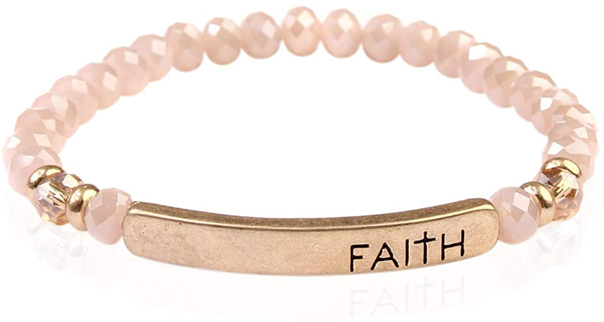 RIAH FASHION Inspiration Engraved Bar Sparkly Crystal Bead Bracelet - Religious Christian Message Stretch Strand Cuff Bangle Lord, Amazing Grace, Philippians Bible