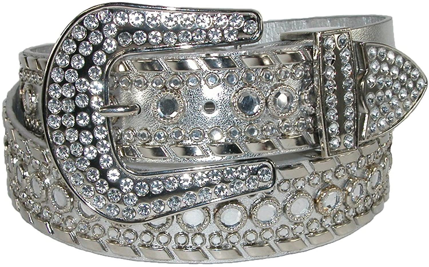Best Choice Belts - Western Belt for Women with Lots of Gorgeous Studded Rhinestones Silver Small