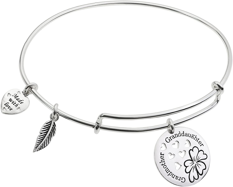 Qina C Sterling Silver Grandmother & Granddaughter Flower Heart Family Dangle Charm Expandable Bangle Bracelet