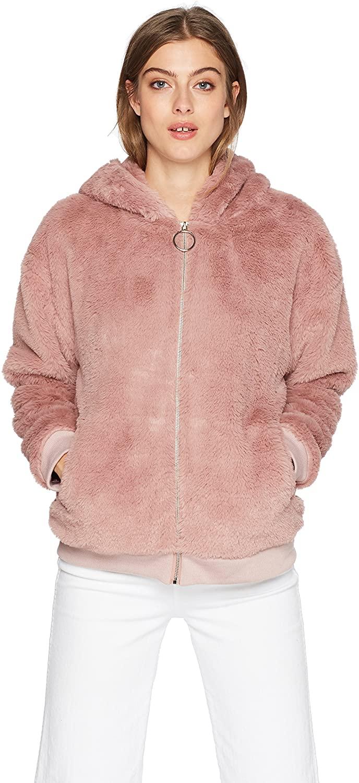 MINKPINK Women's Soft Fluffy Hooded Jacket