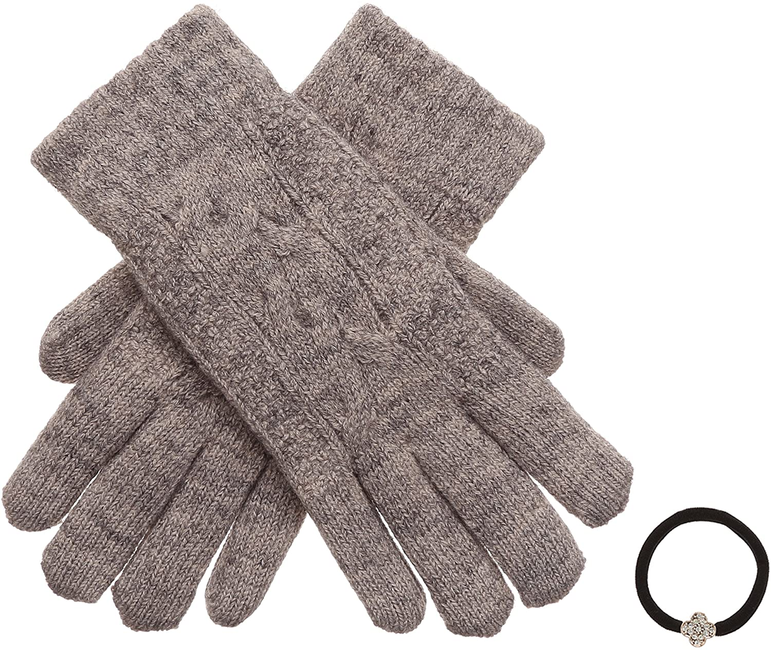 Women's Winter Premium Soft Knit Warm Faux Fur Lining Gloves with Hair Tie