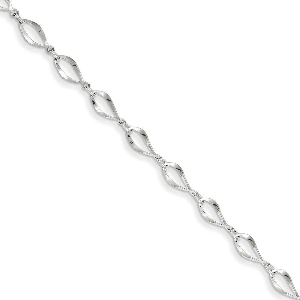 Jewels By Lux 14k White Gold Polished Fancy Link Bracelet