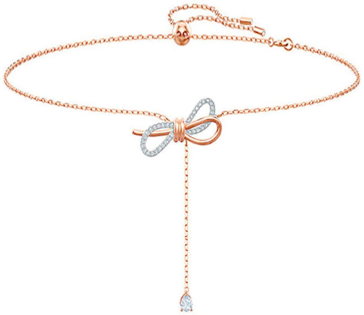 Choker Lariat Y Pendant Necklace Rose Gold Plated 40CM(15.75 Inches) Chain