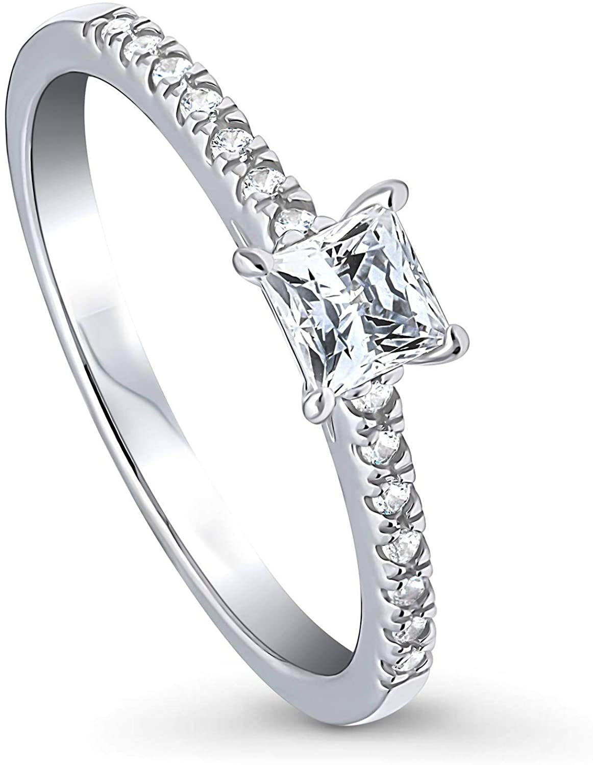 BERRICLE Rhodium Plated Sterling Silver Solitaire Promise Engagement Ring Made with Swarovski Zirconia Princess Cut 0.46 CTW