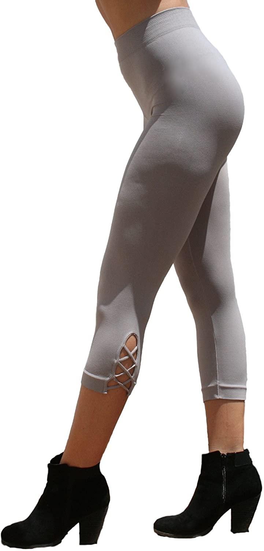 Blue 55 Women's Capri Leggings Criss-Cross Bottom Soft Seamless Smooth Pants