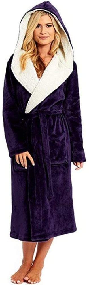 llwannr Bathrobe Robe Nightgown Sleep,Plush Bathrobe Women Warm Hooded Robe Ladies Casual Flannel Kimono Bath Robes Dressing Gowns Bathrobe,Purple,5XL