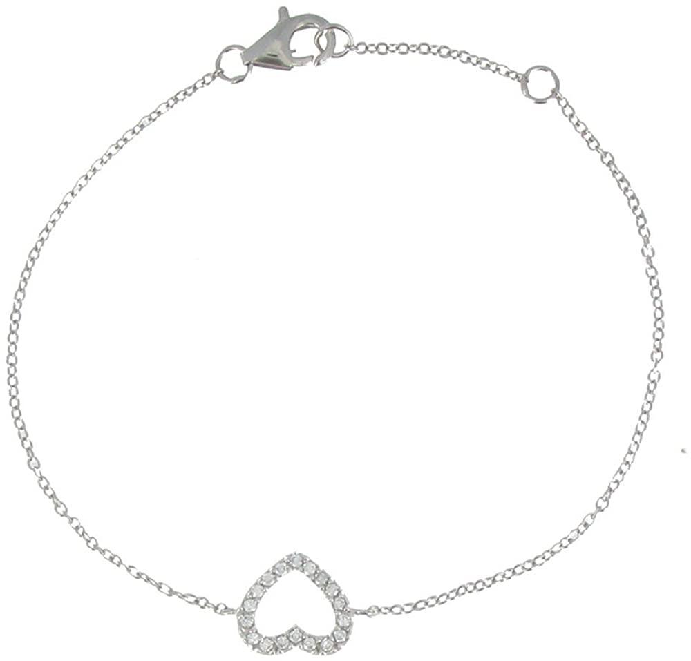 Les Poulettes Jewels - Rhodium Silver Heart Bracelet with Rhinestones - Adjustable 16 to 18 cm
