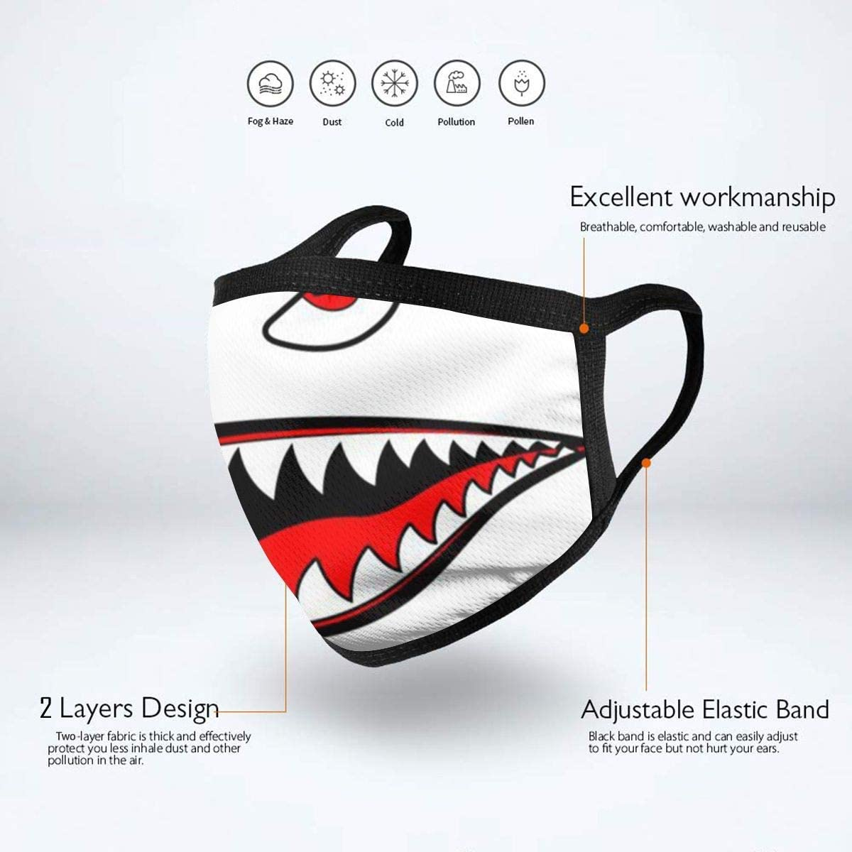 BOKUTT Dust and odor mask Shark Mouth Eyes Men & Women Washable Reusable Thin Double Layer Nose Shield Print Graphics Neck Gaiter Black-Washable and reusable