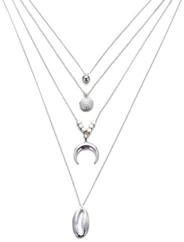 Davitu Boho Hawaiian Cowrie Moon Gold Sea Shell Necklace Choker Jewelry Bohemian Beach Necklace Shell Gold Chain for Women Chocker - (Metal Color: White)