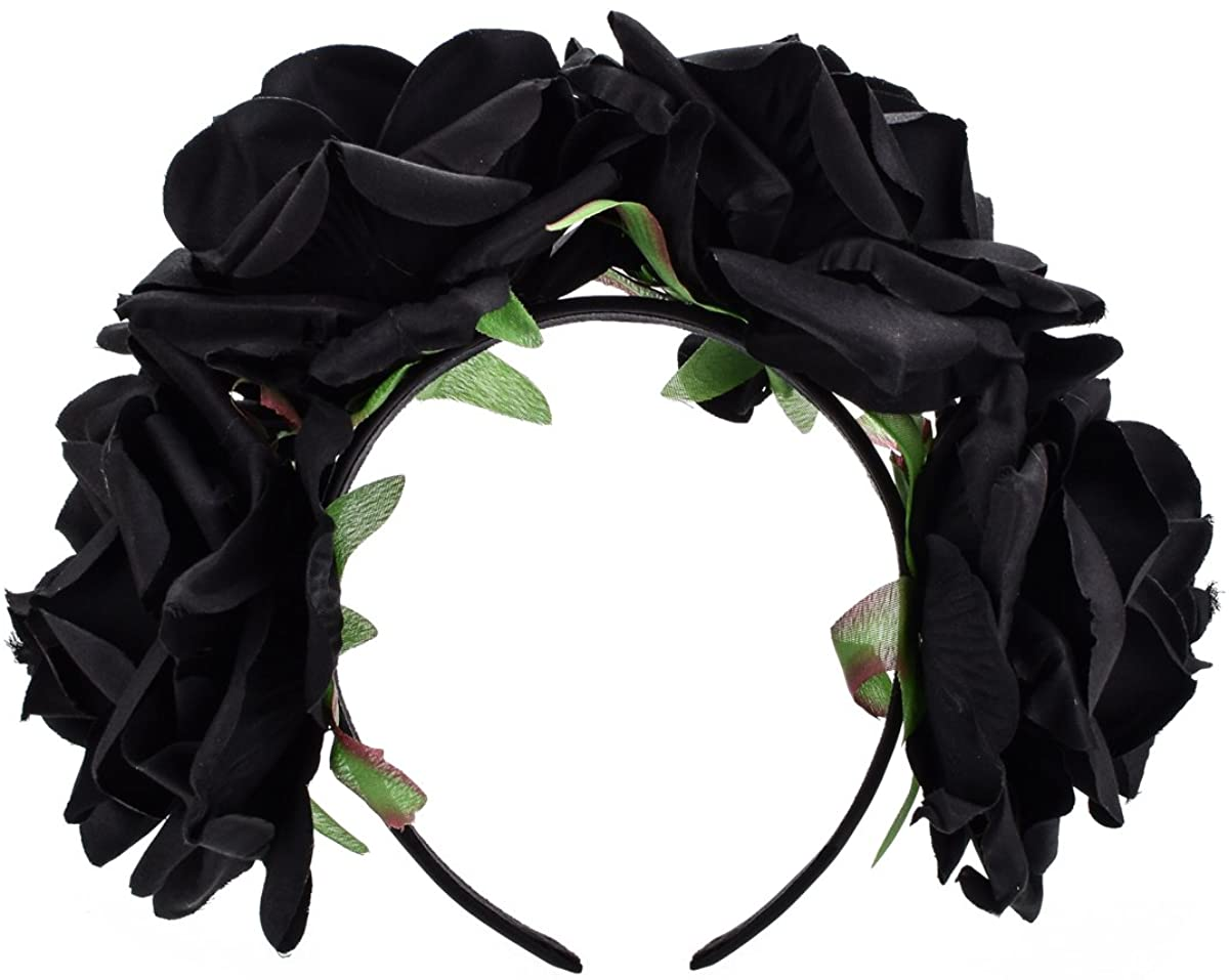 DDazzling Women's Oversized Large Rose Flower Headband Floral Crown Wreath Garland Halo Hairpiece