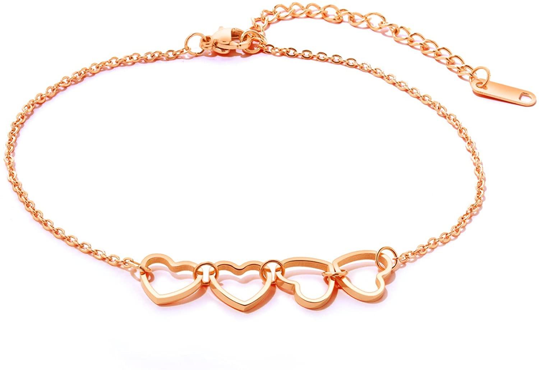 Interlock Heart Chain Beach Sexy Sandal Anklet Ankle Bracelet Made of Stainless Steel Golden Rose
