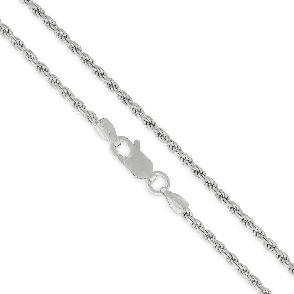 Authentic Solid Sterling Silver Rope Diamond-Cut Braided Twist Link .925 Rhodium Necklace Chains 1.5MM - 5.5MM, 16
