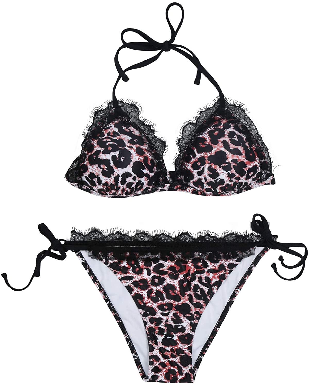 Sexy Bikini Women Two Pieces Swimsuit Beach Swimwear Leopard Lace Trim with Halter Top Tie Side Bottom Push-up
