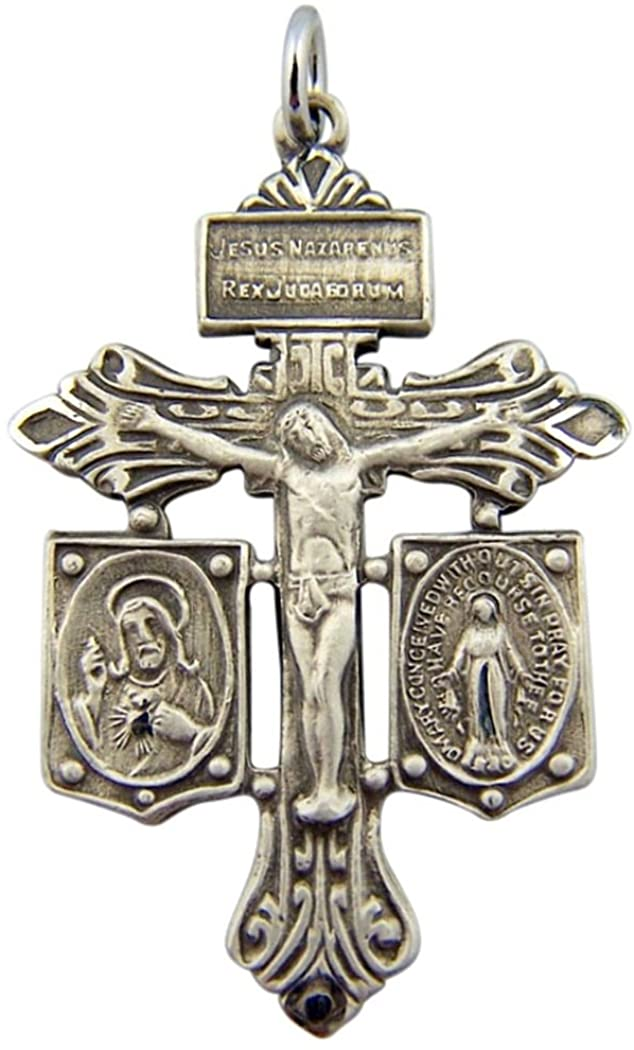 Sterling Silver Pardon Crucifix with Scapular and Miraculous Medal, 1 3/8 Inch