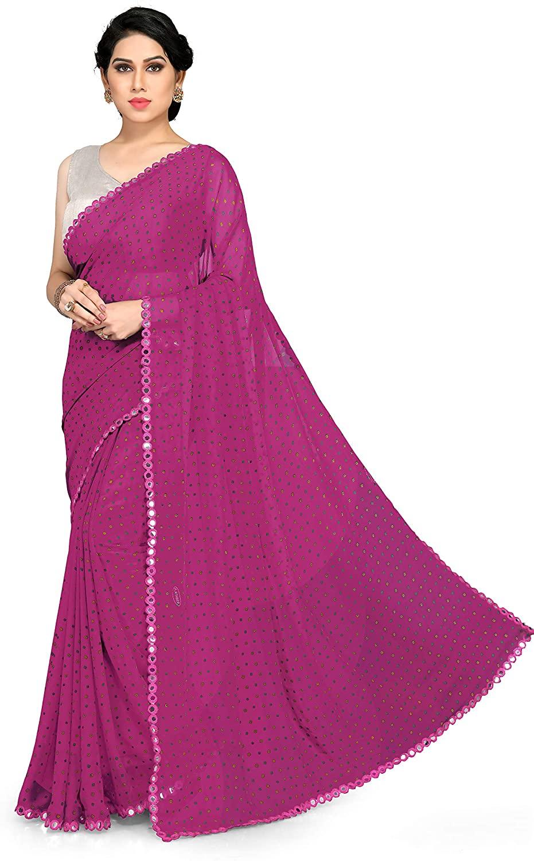 SOURBH Women's New Fancy B&hni Prints Saree With Mirror Lace Border & Blouse Piece