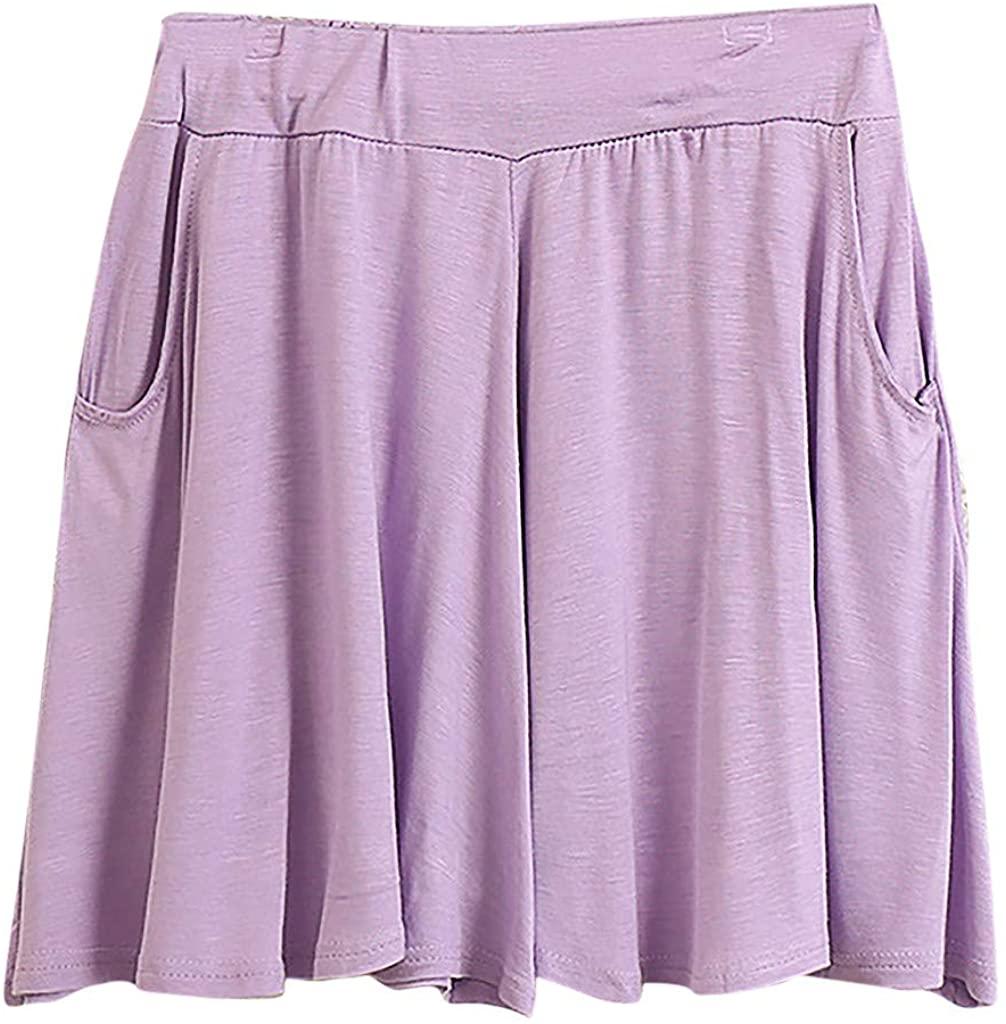 LENXH Ladies Pocket Solid Color Pants Casual Loose Shorts Simple Leggings Fashion Hot Pants
