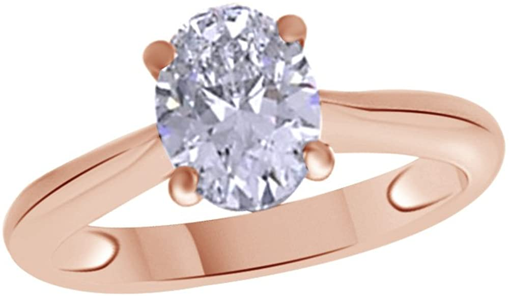 Jewel Zone US Oval Shaped White Cubic Zirconia Anniversary Solitaire Ring in 14k Gold Over Sterling Silver (1.5 Carat)