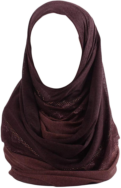 Kashkha 2 Color Lavina Cotton Hijab Scarf with Lace & Rhinestones